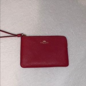 Coach Red Leather Wristlet NWOT